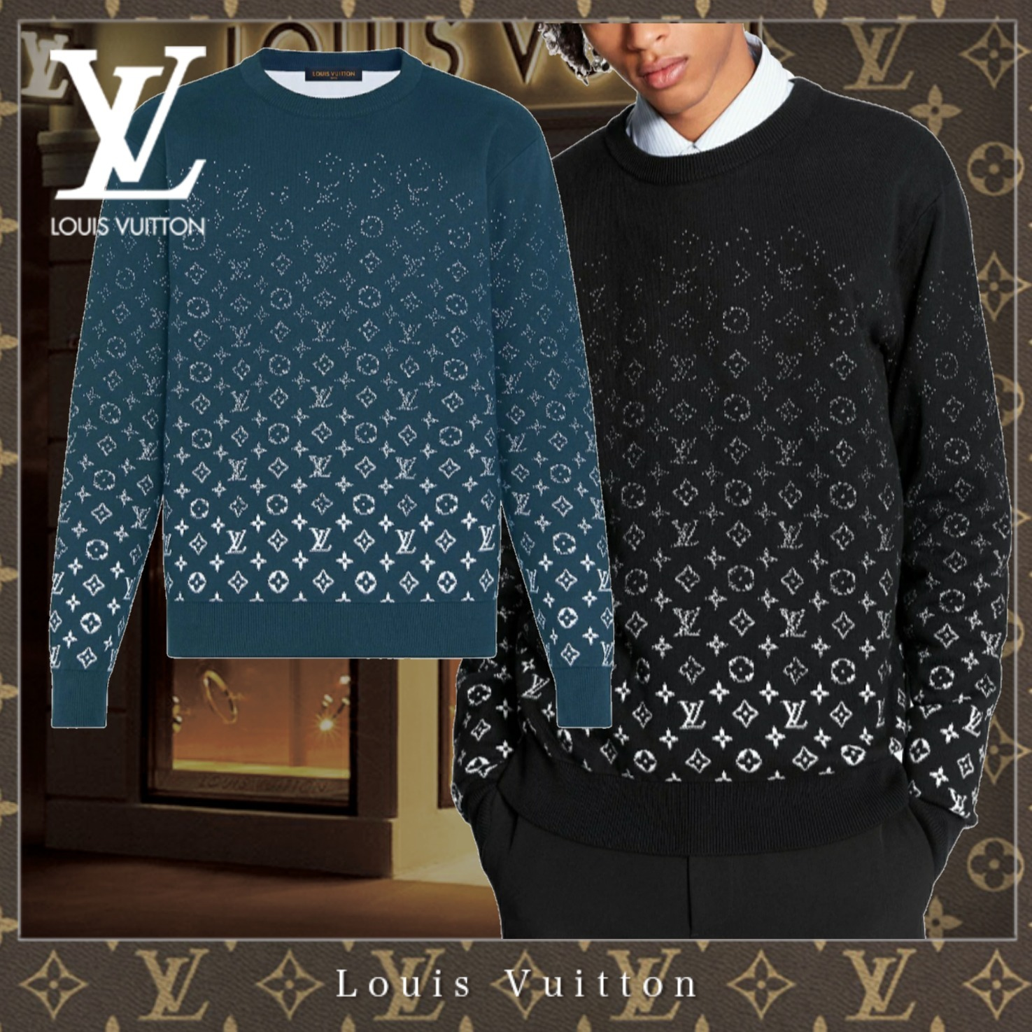 20FW★直営 LouisVuitton グラディエントモノグラムクルーネック (Louis Vuitton/Tシャツ・カットソー) 1A8A1N / 1A8A1T  1A8A1O / 1A8A1U  1A8A1P / 1A8A1V