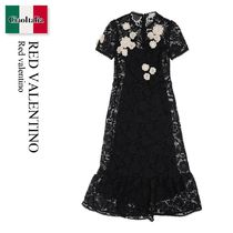 Red valentino MACRAME DRESS WITH FLOWER EMBROIDERY