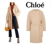 関税・送込CHLOE☆Double-breasted belted wool-blend felt coat