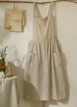 【DECO VIEW】White wild flower embroidered apron