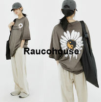 Raucohouse  Daisy printing wash 1/2 t-shirt