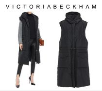 VICTORIA BECKHAM☆Leather-trimmed quilted shell hooded coat