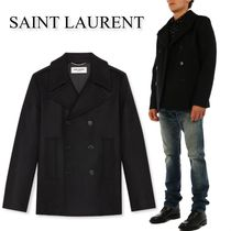 SAINT LAURENT  Wool pea coat black