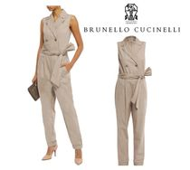 BRUNELLO CUCINELLI(ブルネロクチネリ) オールインワン・サロペット BRUNELLO CUCINELLI☆W-breasted belted cotton-poplin jumpsuit