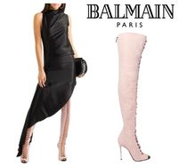 BALMAIN☆Campbell lace-up leather stretch-suede thigh boots