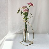 【YOTIMING】Gold Round Edge Line Iron Glass Bottle vase - L
