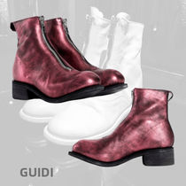 GUIDI Purple front zip laminated leather boots
