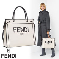 コラボで話題 FENDI☆SAC SHOPPING FENDI ROMA LARGE ロゴ
