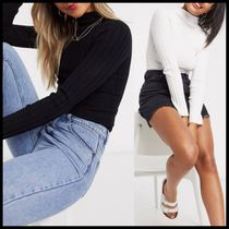ASOS DESIGN ribbed jumper with grown on neck detail