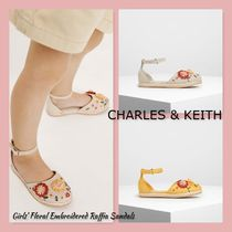 CHARLES & KEITH【Girls' Floral Embroidered Raffia Sandals】