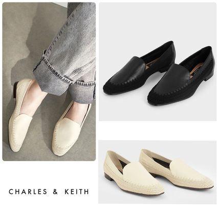 ★CHARLES & KEITH★Leather Crochet Loafers/送料込