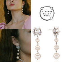 ★人氣★VINTAGE HOLLYWOOD★MIDNIGHT PEARL DROP EARRING