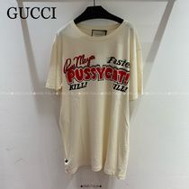 GUCCI☆COTTON JERSEY Tシャツ W/PUSSYCAT PRINT☆492347 X3Q33