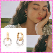 【VINTAGE HOLLYWOOD】Donut Crystal Hoop Earring〜ピアス