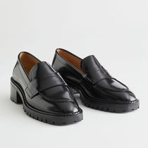 """""""& Other Stories"""" Heeled Leather Penny Loafers Black"""