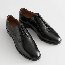 """""""& Other Stories"""" Croc Embossed Leather Oxfords Black"""