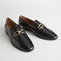 """""""& Other Stories"""" Croc Embossed Leather Buckle Loafers Bla"""
