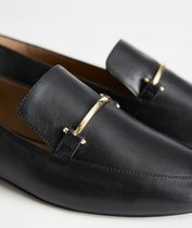 """""""& Other Stories"""" Smooth Leather Buckle Loafers Black"""
