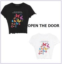 韓国 『open the door』butterfly wave crop 1/2 T MH1694 2色
