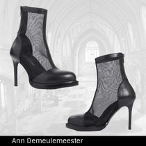 【ANN DEMEULEMEESTER】Black  leather メッシュブーツ