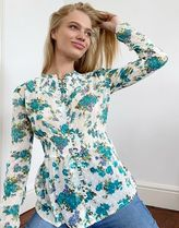 Topshop tea blouse in ivory and blue floral
