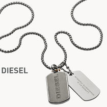 ★クールに★DIESEL Engraved Concrete Double Dog Tag Necklace