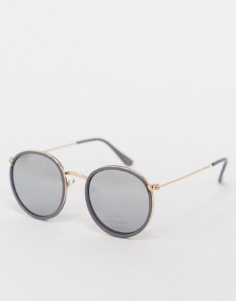 ASOS サングラス 【新作】RiverIslandroundglassesgold
