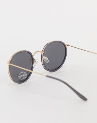 ASOS サングラス 【新作】RiverIslandroundglassesgold(2)
