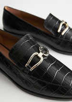 ☆& Other Stories☆Croc Embossed Leather Buckle Loafers