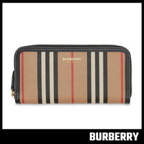 【BURBERRY】Icon Stripe E-canvas and Leather Wallet