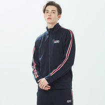 [ FILA ] White-Line Linear Bicolor Tape Zip-Up (Ink navy)