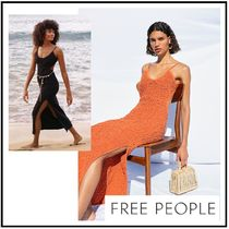 【free people】ギャザー背中開きマキシワンピ