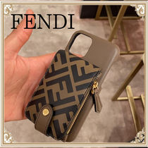FENDI☆ カーフスキン Cover for iPhone 11 Pro FF Brown