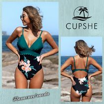 CUPSHE(カップシー) ワンピース水着 関税込★CUPSHE★BLACK TEAL FLORAL SCALLOPED*ワンピース(C743)