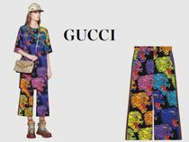 GUCCI PANTHER FACE ANGRY CAT VISCOSE CULOTTE PANTS #523250