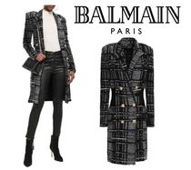 関税・送込BALMAIN☆Double-breasted checked boucle-tweed coat