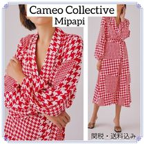 *C / MEO COLLECTIVE*LONG SLEEVE DRESS RED千鳥格子柄