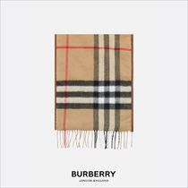[Burberry] マフラー CASHMERE PADDED SCARF WITH LEATHER TRIMS