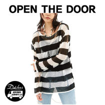 OPEN THE DOOR grunge stripe T (2 color) YI578 追跡付