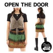 OPEN THE DOOR shirring halter-neck T (3 color) YI582 追跡付