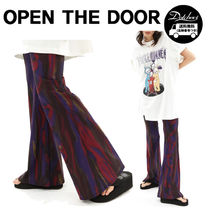 OPEN THE DOOR(オープンザドア) パンツ OPEN THE DOOR graphic boots-cut pants (2 color) YI587 追跡付