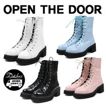 OPEN THE DOOR gloss leather walker boots YI597 追跡付
