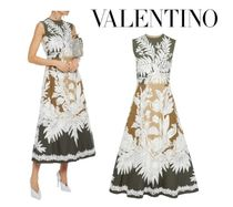 VALENTINO☆Embroidered voile-appliqued color-block dress