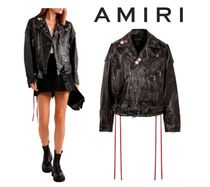 AMIRI☆Oversized printed embellished leather jacket