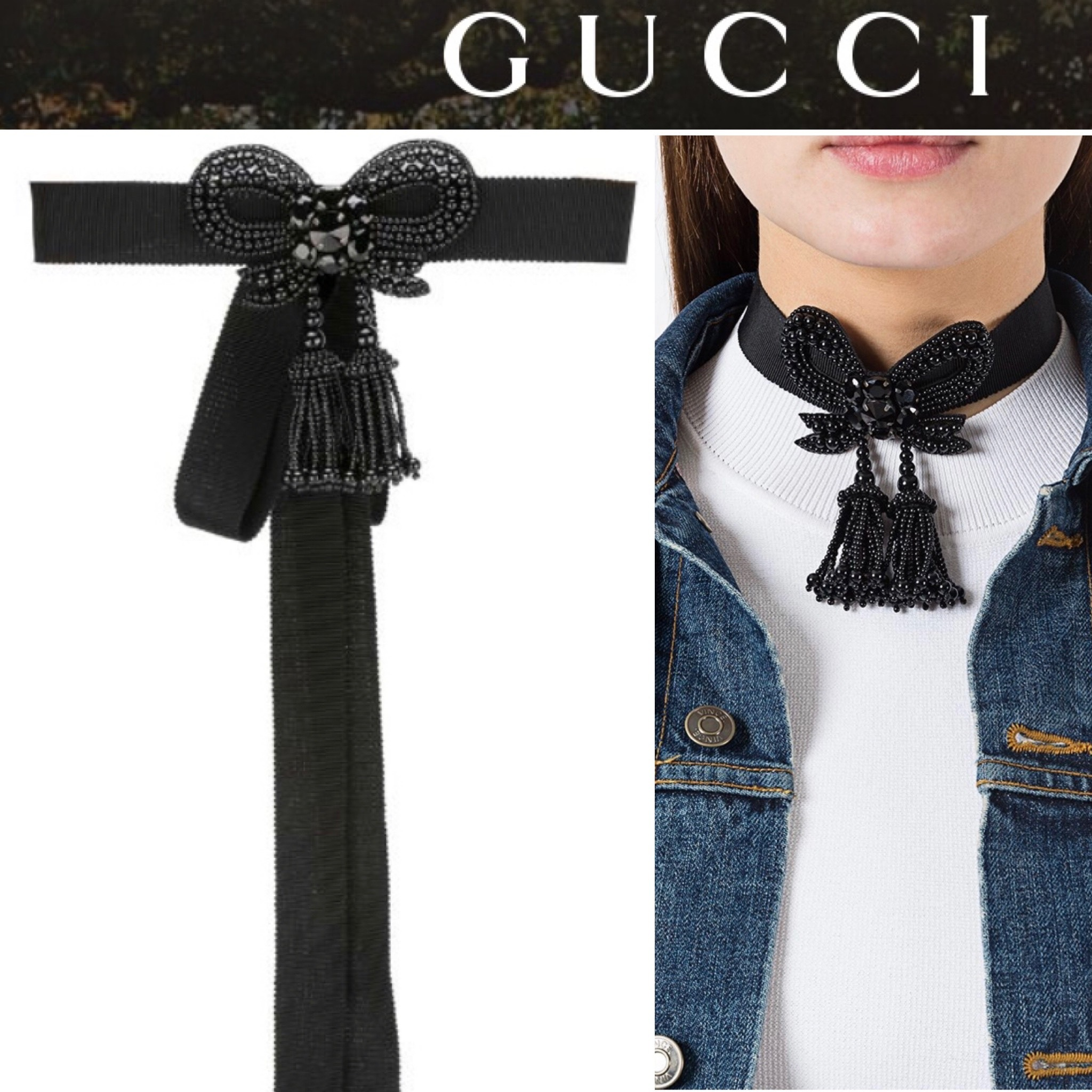 GUCCI☆ビーズリボンチョーカー Beaded Bow Necklace (GUCCI/ネックレス・ペンダント) 57145857