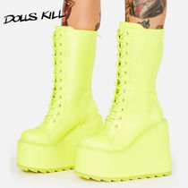 DOLLS KILL◆Y.R.U.◆Neon Yellow Dune Lace Up Boots