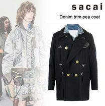 洒落感抜群◆ sacai ◆ Denim trim pea coat◆関税込