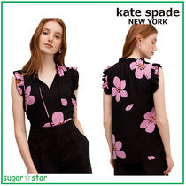 国内発送【kate spade】grand flora tie neck shell ブラウス