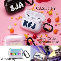 『Casetify』airpods/proケース ネームオーダーClear/Black/Pink