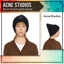 [Acne Studios] Black rib knit patch beanie 送料関税込